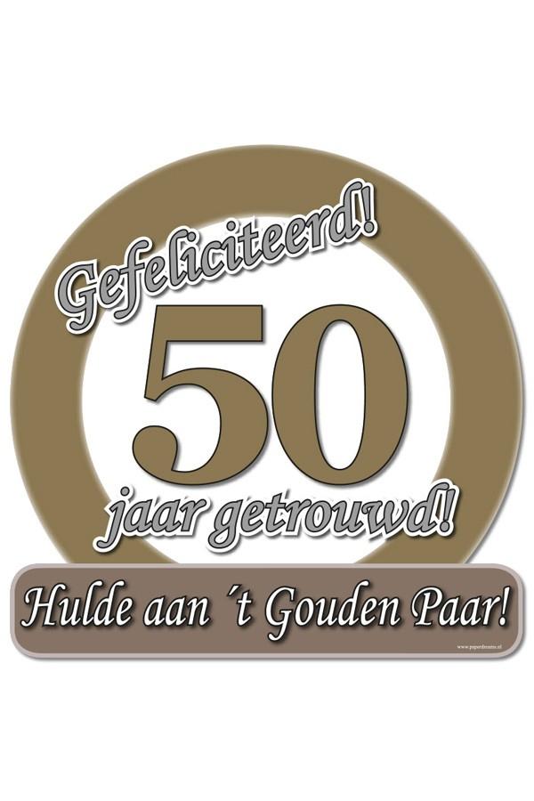 Huldeschild 50x50 cm metalic50 jaar getrouwd