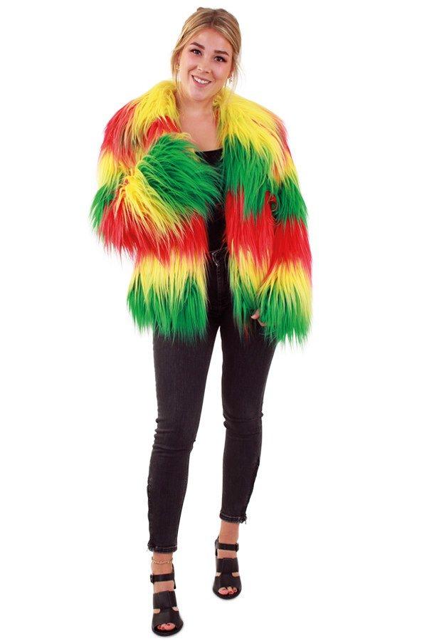 Bontjas lang haar rood/geel/groen dames