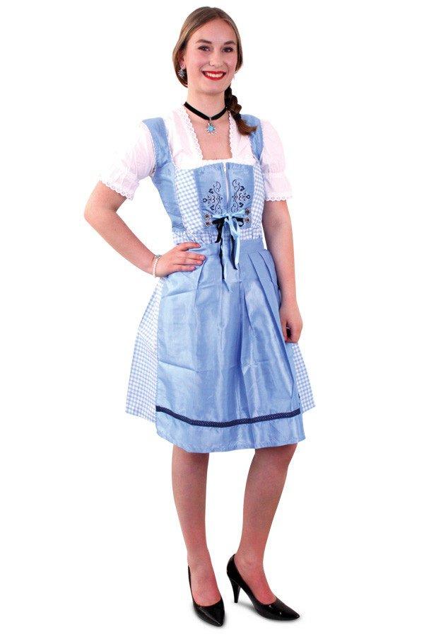 Tiroler jurk dirndl blauw/wit dames