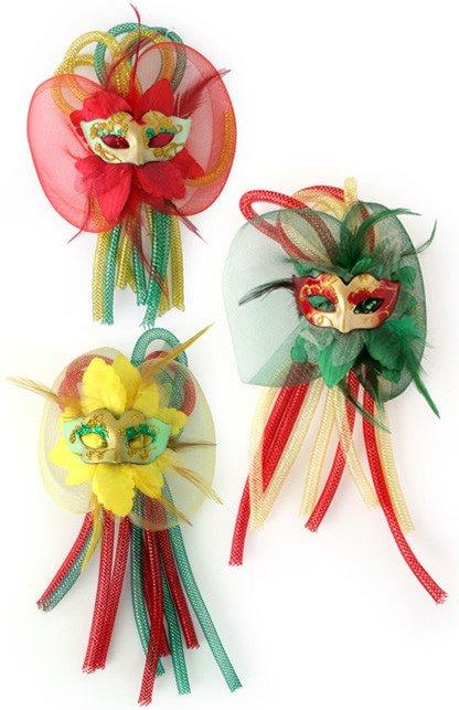 Broche bloem, tubes en oogmasker assorti rood/geel/groen