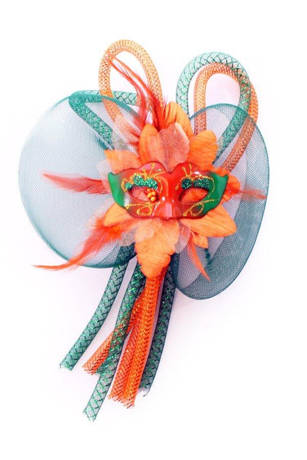 Broche bloem, tubes en oogmasker oranje/groen