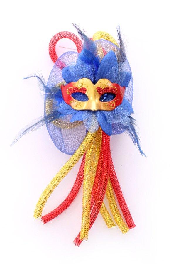 Broche bloem, tubes en oogmasker rood/geel/blauw