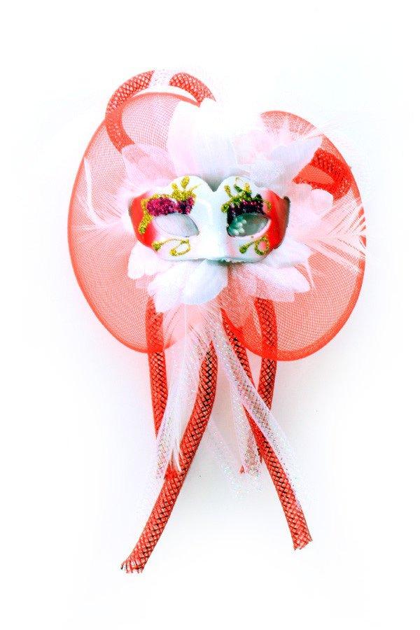 Broche bloem, tubes en oogmasker rood/wit