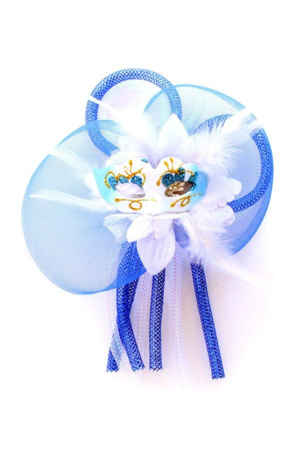 Broche bloem, tubes en oogmasker blauw/wit