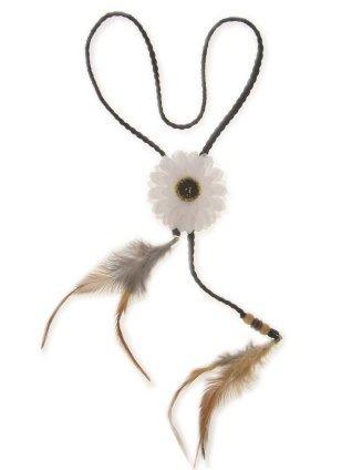 Hoofdband met witte bloem en veren