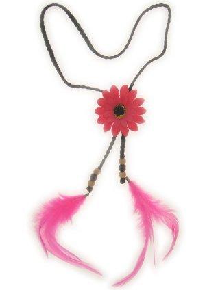 Hoofdband met roze bloem en veren