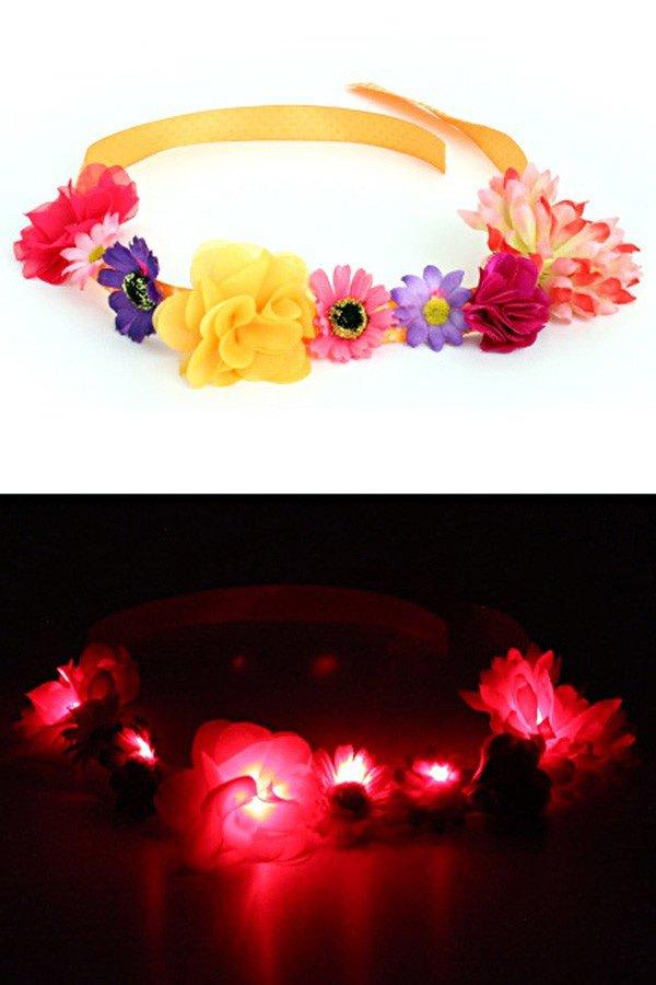 Hoofdbandje bloemen met licht paars/oranje