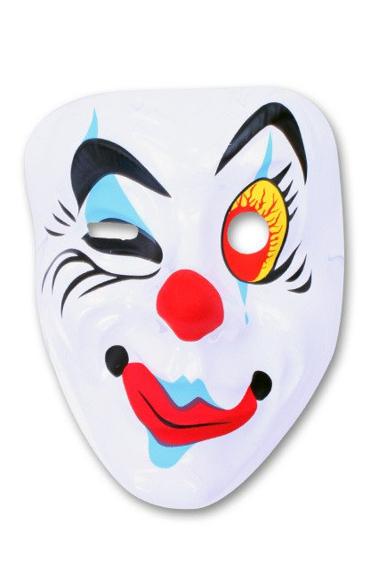 Masker Pierrot knipoog plastic