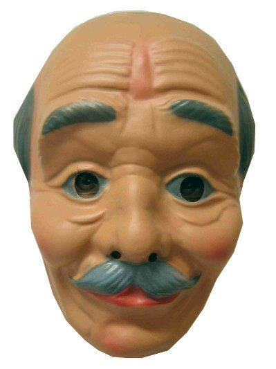 Masker kaalhoofd met snor Opa plast