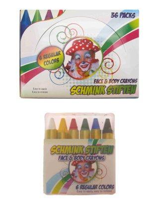 PXP schminkstiften EU 6 x 8 gram reguliere kleuren in doos
