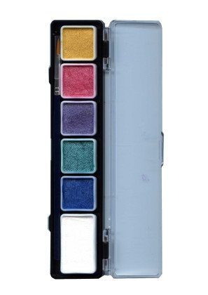 PXP 5 x 3 and 1 x 6 gram pearl colours palet with a brush size 2.