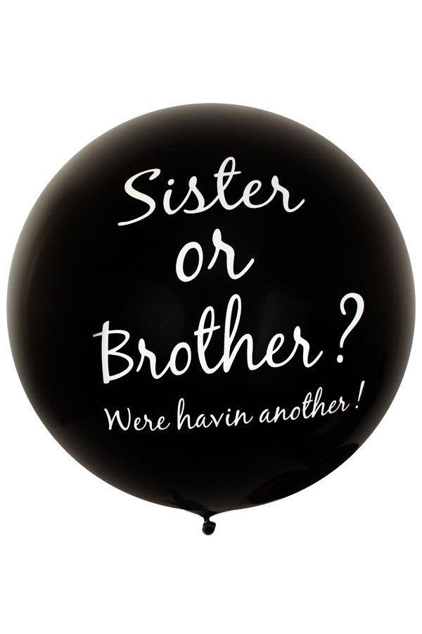 Megaballon zwart SISTER OR BROTHER ? 36 inch