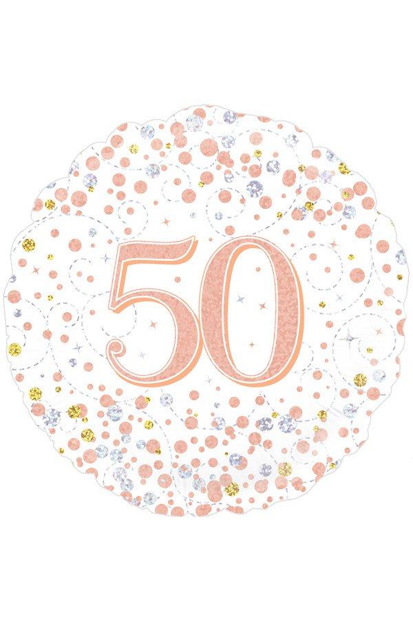 Folie-ballon 18 inch 45.7 cm 50th Sparkling Fizz Birthday White & Rose Gold Holographic