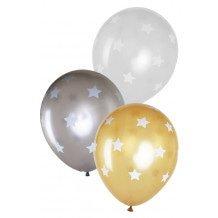 Ballonnen 14 inch per 6 metallic Sterren2 x Goud, 2 x zilver, 2 x kristal transparant