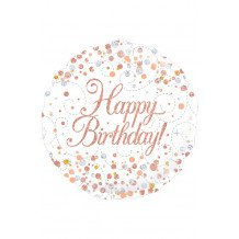 Folie-ballon 18 inch 45.7 cm Sparkling wit Happy BirthdayHolograpic
