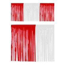 PVC slierten folie guirlande rood/wit 6 meter x 30 cm BRANDVEILIG
