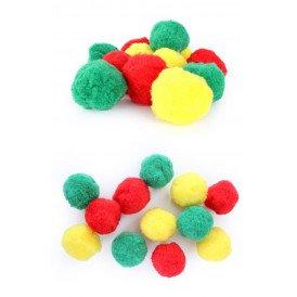 12 pompons rood-geel-groen