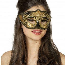 Masker (bril)  met gouden krul, zwart