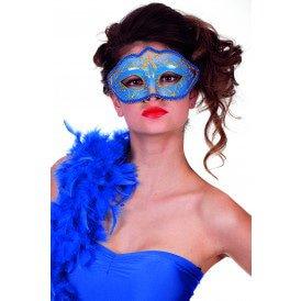 Masker (bril)  met gouden krul, blauw