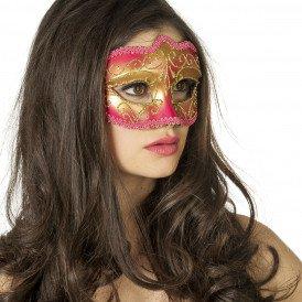 Masker (bril)  met gouden krul, roze