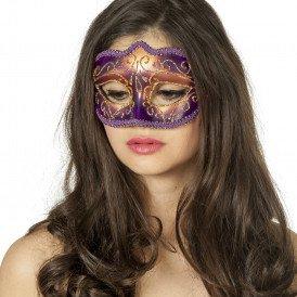Masker (bril)  met gouden krul, paars