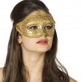 Masker (bril)  met gouden krul, goud
