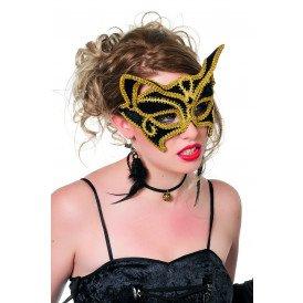 Masker (bril), kat zwart met goudband