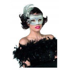 Masker (bril) met veren, zilver
