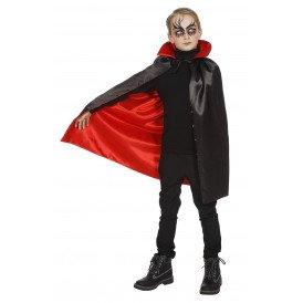 Dracula cape met kraag zwart/rood