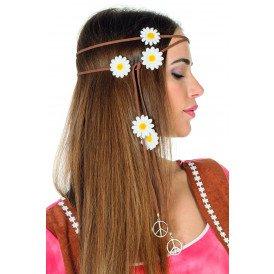 Haarband bruin met bloemetjes & peace-tekens