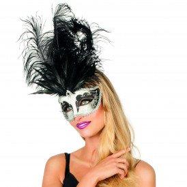 Venetiaans masker grote veer, zilver