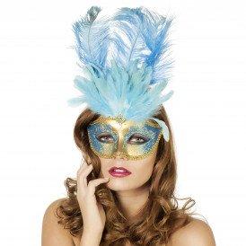 Venetiaans masker grote veer, aqua