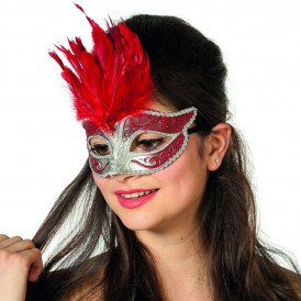 Venetiaans masker grote veer II, rood/zilver