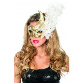 Venetiaans masker met 2 punten, wit/goud