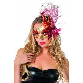 Venetiaans masker met 2 punten, rood/goud