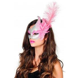 Venetiaans masker met 2 punten, roze