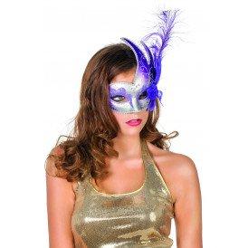 Venetiaans masker met 2 punten, paars/zilver