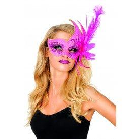 Venetiaans masker met 2 punten, neon-pink