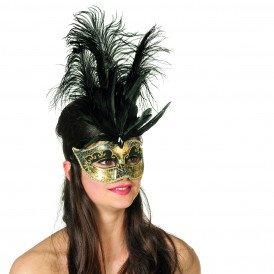 Venetiaans masker grote veren/muzieknoot, zwart