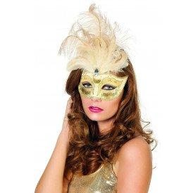 Venetiaans masker grote veren/muzieknoot, wit