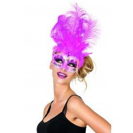 Venetiaans masker grote veren/muzieknoot, neon-pink