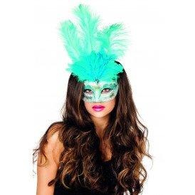 Venetiaans masker grote veren/muzieknoot, aqua