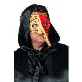 Venetiaanse masker lange neus, rood/witte neus