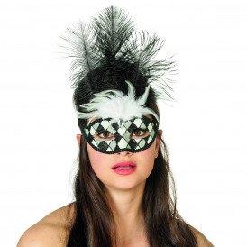 Masker Venetiaanse wyber+veren, zwart/wit