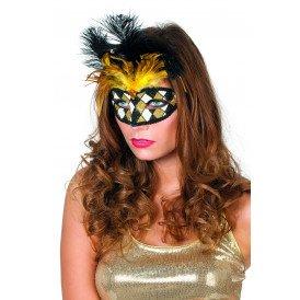 Masker Venetiaanse wyber+veren, zwart/goud