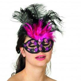 Masker Venetiaanse wyber+veren, zwart/pink