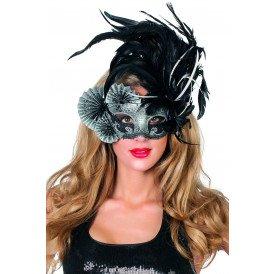 Venetiaans masker waaiers&veren, zwart