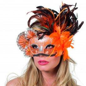 Venetiaans masker waaiers&veren, oranje