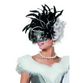 Masker venetiaanse waaier en veren, zwart