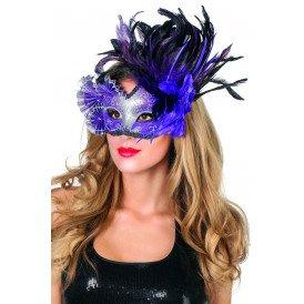 Masker venetiaanse waaier en veren, paars